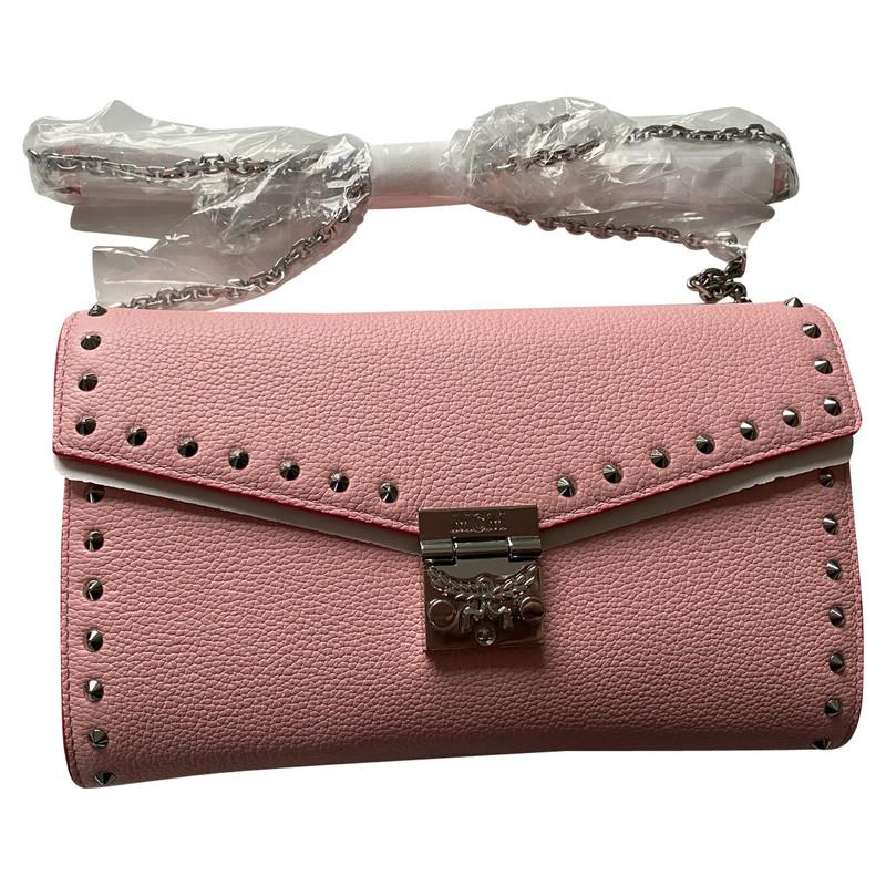 Mcm Umhängetasche aus Leder in Rosa Pink Second Hand Mcm