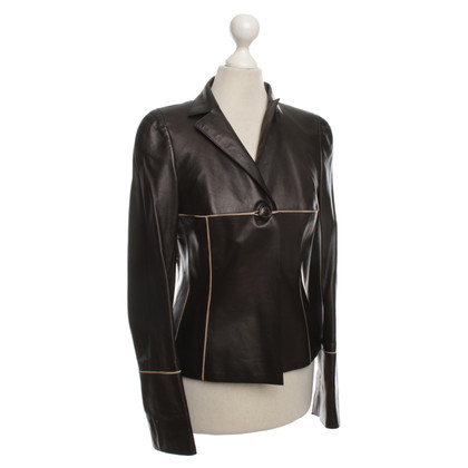 Akris Leren jas in zwart