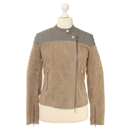 Closed Leather jacket in beige/grey