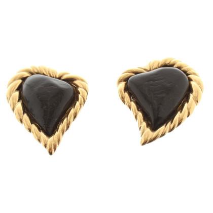 Yves Saint Laurent Earclips with black gemstone