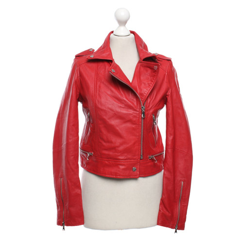 Super Oakwood Leather jacket in red - Second Hand Oakwood Leather jacket QO-43