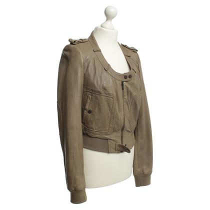 Twenty8Twelve Leather jacket in khaki