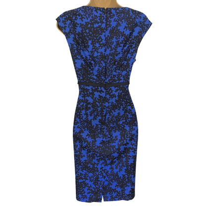 Hobbs Blue & Black Silk Mix Sleeveless Dress