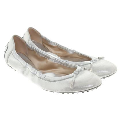 Tod's Ballerinas in Silber