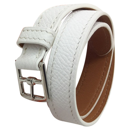 Hermès White Leather Bracelet