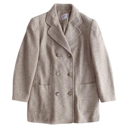 Ferre Wool coat in melange beige and grey