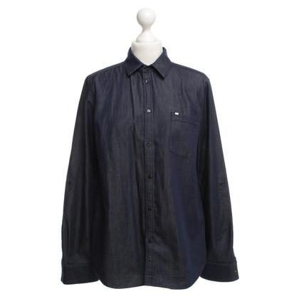 Hugo Boss Bluse in Jeans-Optik in Blau