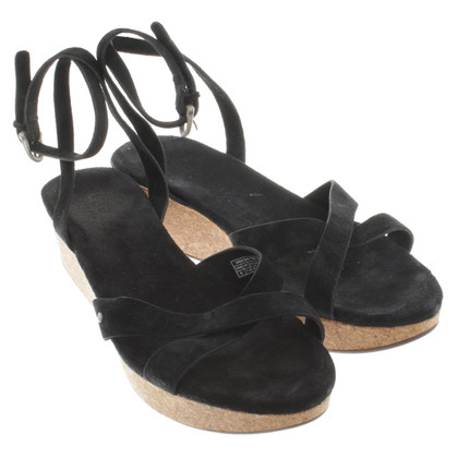 UGG Australia Black Suede wedges