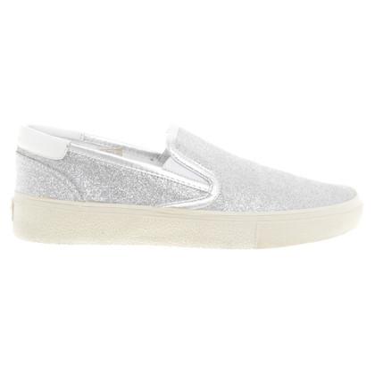 Saint Laurent Zilveren slippers