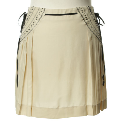 Philosophy di Alberta Ferretti Cream silk skirt with embroidery