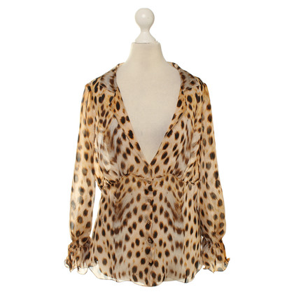 Roberto Cavalli Animal-print silk blouse
