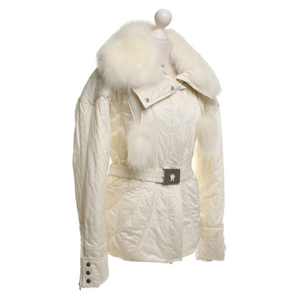 Moncler White jacket with fur trim