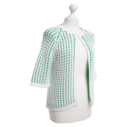 Malo Cardigan in verde / bianco