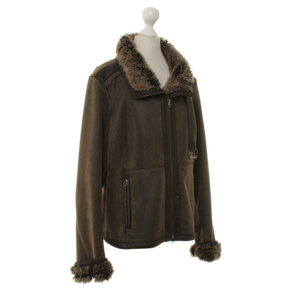 Armani Jeans Leather jacket with fur