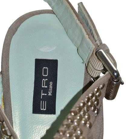 Sandaletten Keilabsatz Etro Etro Ocker mit Sandaletten mit 8wFtqfO
