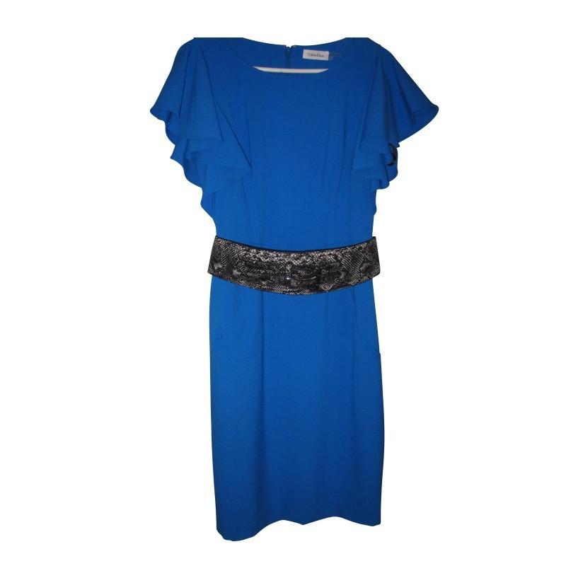 calvin klein kleid royalblau mit g rtel in schlangenlederoptik second hand calvin klein kleid. Black Bedroom Furniture Sets. Home Design Ideas