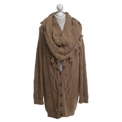 Pinko Cardigan & scarf in light brown