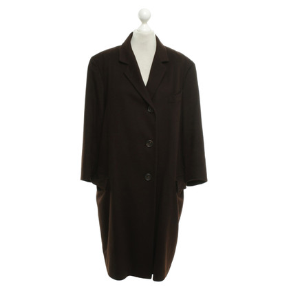 Jil Sander cappotto di cachemire in marrone scuro