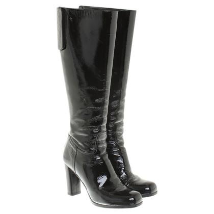 Prada stivali di pelle di brevetto