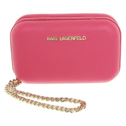 Karl Lagerfeld Leather clutch in Fuchsia