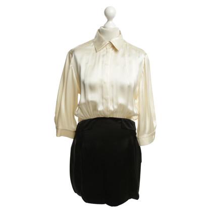 Balmain zijden jurk in beige / zwart