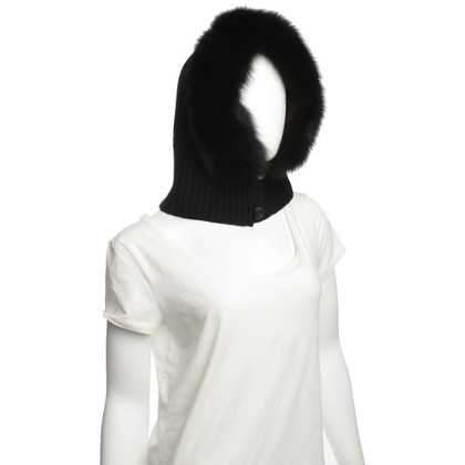 Max Mara Hooded hat with rabbit fur trim