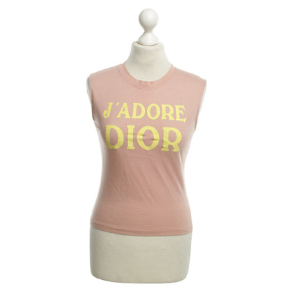 Christian Dior T-shirt in pink with lettering in yellow