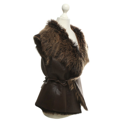 Marc Cain Vest with fur collar
