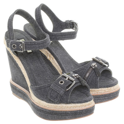 Miu Miu Denim-Wedges in Dunkelblau