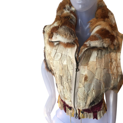 Christian Dior Gilet in pelle con finiture in pelliccia