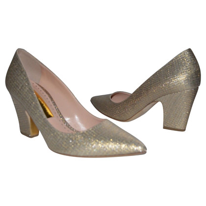 Rupert Sanderson Gold Pierrot glittered canvas pumps