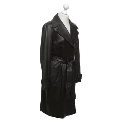 JOOP! Leather coat in dark brown