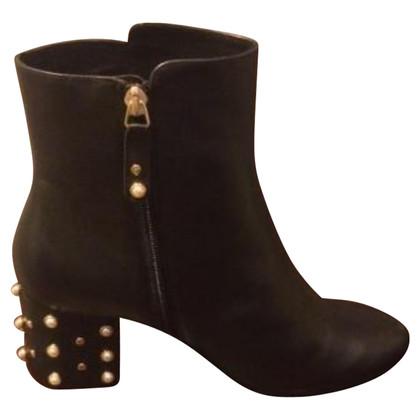 Minelli stivali di pelle nera