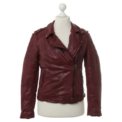 Muubaa Lederjacke in Bordeaux