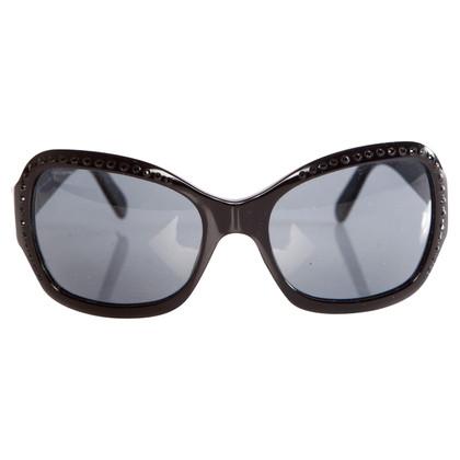 Prada zwarte zonnebril met zwart stenen