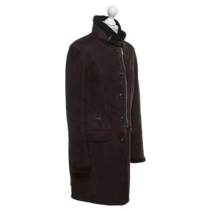Mabrun Lambskin coat in dark brown