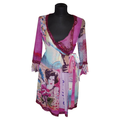 John Galliano wrap dress in seta con stampa
