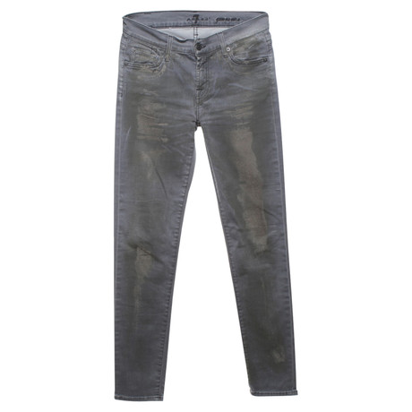 7 For All Mankind Skinny-Jeans im Used-Look Grau