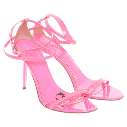 John Galliano Sandalen in neon roze