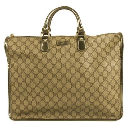 Gucci GG-Monogramm Grau Canvas & Ledertasche