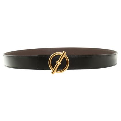 Hermès Wendegürtel mit goldfarbener Schließe