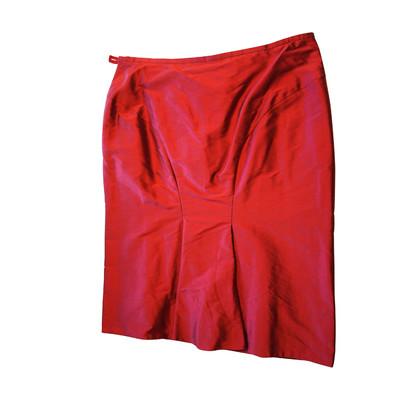 Armani Collezioni Gonna longuette di seta rosso