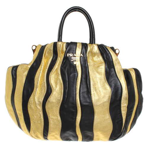 Prada Handbag in gold   black - Second Hand Prada Handbag in gold ... 857a05c79f