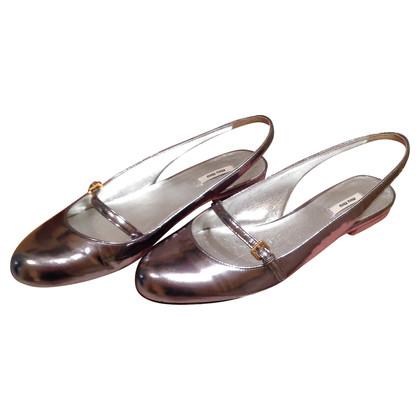 Miu Miu Metallic leather ballerina flats