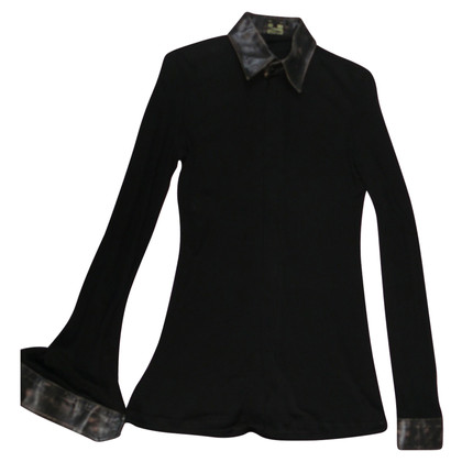 Jean Paul Gaultier Shirt blouse with leather collar