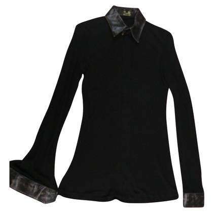 Jean Paul Gaultier Blouse met overhemd en lederen kraag