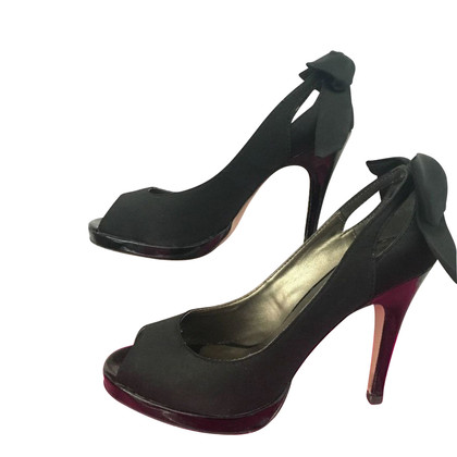 Kurt Geiger BLACK SATIN BOW PEEP TOE SCHOENEN