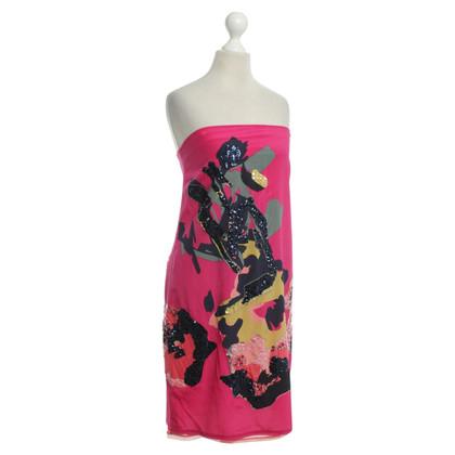 DKNY Strapless zijden jurk