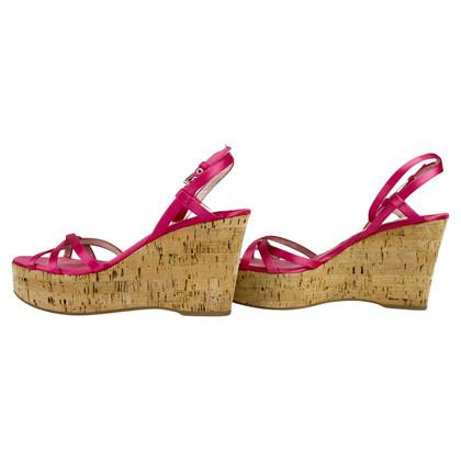 Prada Pink Satin Strappy Sandals Cork Wedges