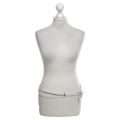 Christian Dior Leather Belt in White